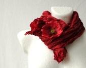 Poppy Red Wrinkled Scarf