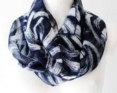 Spring SALE Navy Waves Loop Circle Scarf infinity chiffon