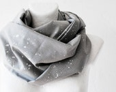 LAST ONE Grey Splatter Loop Circle Scarf infinity Christmas Xmas