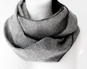 Cyber Monday Christmas SALE Unisex Grey Wool Loop Circle Scarf infinity Fall Autumn Winter