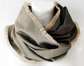 CLEARANCE Khaki Fringed Loop Circle Scarf infinity