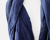 CLEARANCE Cotton Woven Stripes Loop circle Scarf Navy Blue infinity