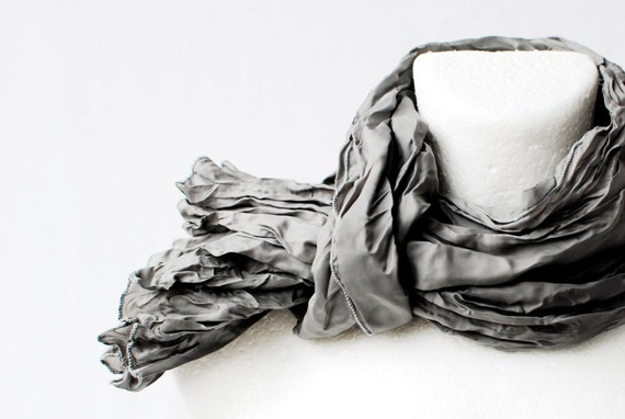 Cyber Monday Christmas SALE Charcoal Grey Wrinkled Scarf spring unisex Fall Autumn Winter