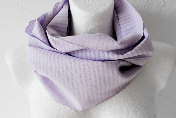 CLEARANCE Woven Stripes Loop circle Scarf Lilac lavender pastel infinity