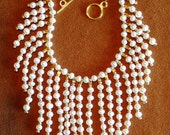 Bridal Freshwater Rice Pearl Necklace in white and gold