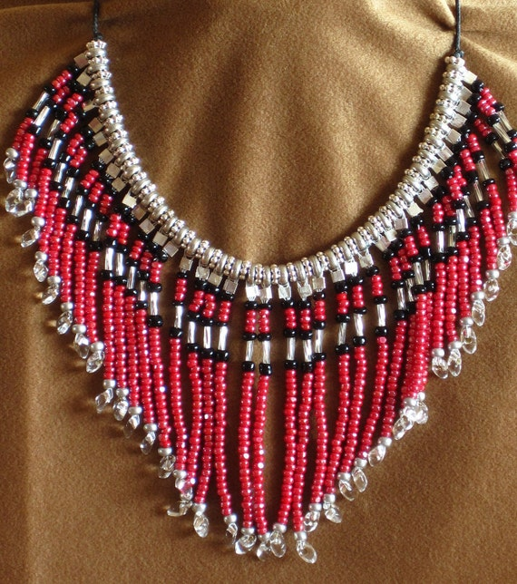 """PRICE REDUCED Native American tribal style fringed red """"denim"""" and silver necklace"""