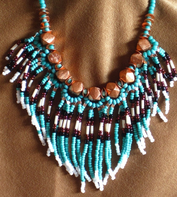 RESERVED FOR JENNY Native American tribal fringed collar necklace in copper and turquoise