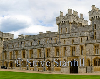 Rare Panoramic View of Interior Courtyard of Windsor Castle