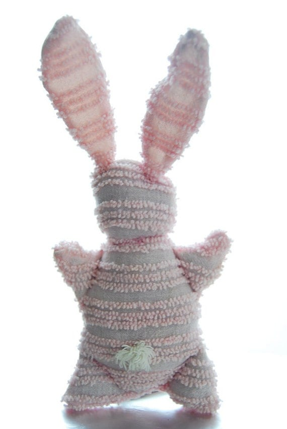 Chenille Bunny Baby shower gift, light pink, stuffed, upcycled