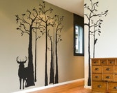 Deer Silhouette Wall Mural - In the Forest Wall Decals with Woodpecker -  Removable Sticker