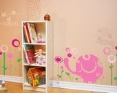 Elephant Wall Decal - Baby Elephant in the Meadow - FLWD020