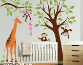 Giraffe with Monekys Wall Decals - Children Wall Stickers Kids Wall Art - PLMG030L
