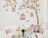 Garden Wall Decals - Tree with Birdcage and Birds Wall Stickers for Nursery - TRGD010R