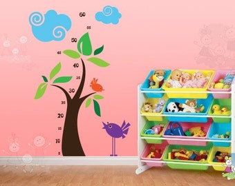 Children Wall Sticker Decal Vinyl - Growth Chart Wall Decals For Kids - Chipping Birds - GRCH010R