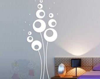 Abstract Flowers  - Vinyl Sticker, Wall Decal Living Room, Hallway, Decor, Interior - FLAB010