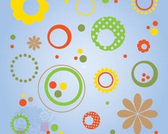 Flowers Dots Wall Art - Children Wall Decor - Polka Dot Wall Stickers - MDFD010