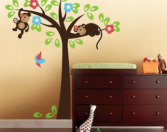 Monkey Friends Wall Decals - Sleeping Monkey on the Tree with Birds - PLSF030L