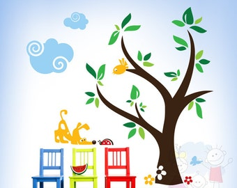 Children Wall Decal Wall Sticker Kids Decal - Curious Dog and Ladybug with Clouds and Tree - PLYR010L