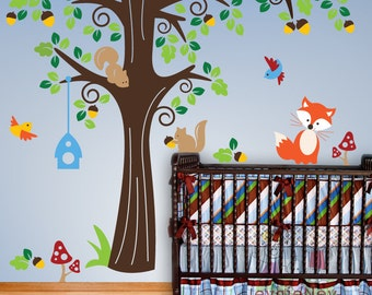 Animals in the Woods Wall Stickers  Removable Wall Vinyl Decals For Kids -  PLFR010R
