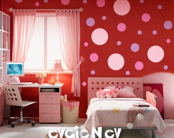 Polka dots vinyl art wall decal living room hallway for Polka dot living room ideas