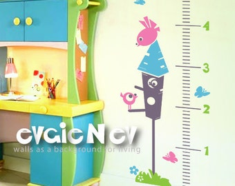 Kids Nusrery Stickers - Growth Chart Birdhouse Wall Decal - GRCH020R