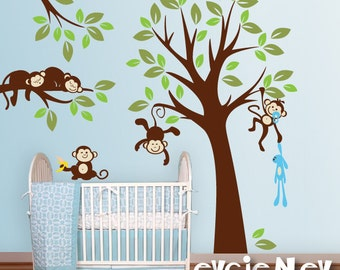 Monkeys Wall Decals, Nursery Wall Decals, Baby Wall Decals, Kids Wall Decals, Jungle Wall Decals - PLMG020L