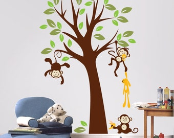 Baby Nursery Wall Decals - Tree with Monkeys Wall Stickers - PLMG010