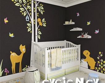 Deer, Bear and Tree and squirrel  - Nursery Wall Decal and Baby Wall Decal - PLWD030