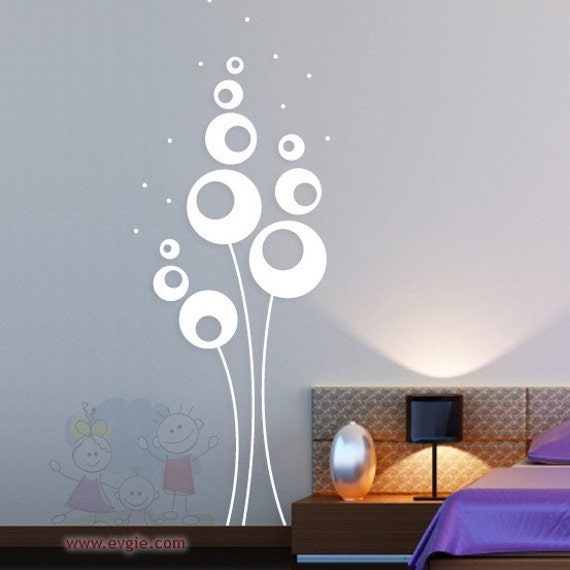 Abstract Flowers - Vinyl Sticker, Wall Decal Living Room, Hallway ...