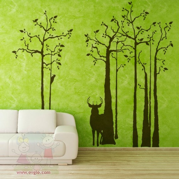 Deer Silhouette Wall Mural   In The Forest Wall Decals With Woodpecker    Removable Sticker Part 11
