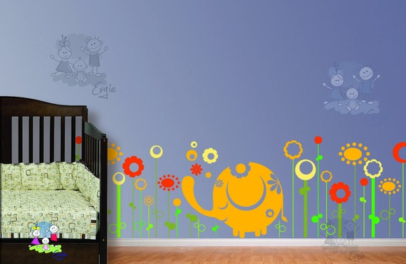 Nursery Wall Sticker - Baby Elephant in the Meadow - FLWD020
