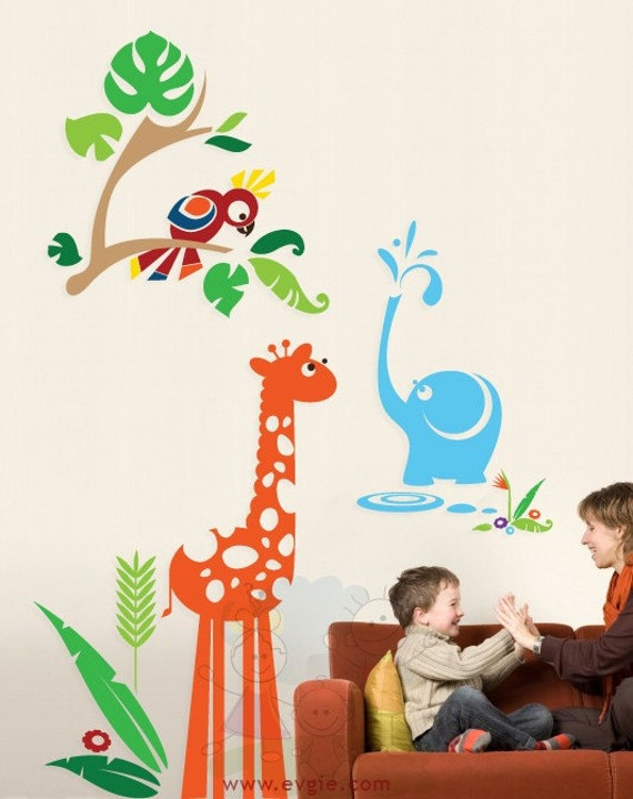 Baby Elephant Wall Sticker - Parrot with Giraffe and grass Wall Decals - PLJN020R