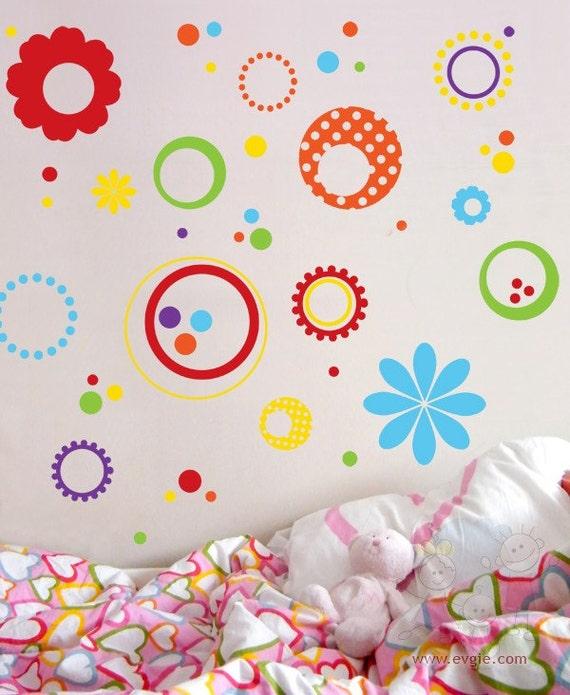 Wall Decals For Kids  - Polka Dot Flowers - Vinyl Sticker Children Nursery Baby Boy Girl chld - MDFD020
