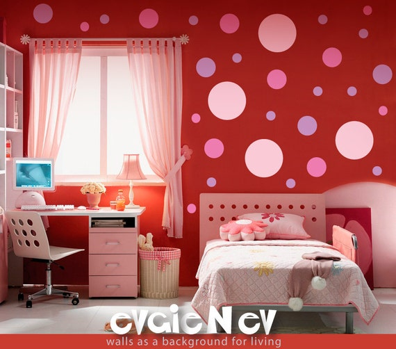 Rose Polka Stickers - Vinyl Art Polka Dot Wall Decal - MDPD020