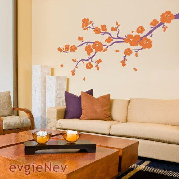 Children Wall Decal Wall Sticker tree decal  - Elegant Cherry Blossoms Branch - Wall Stickers BRCB010L