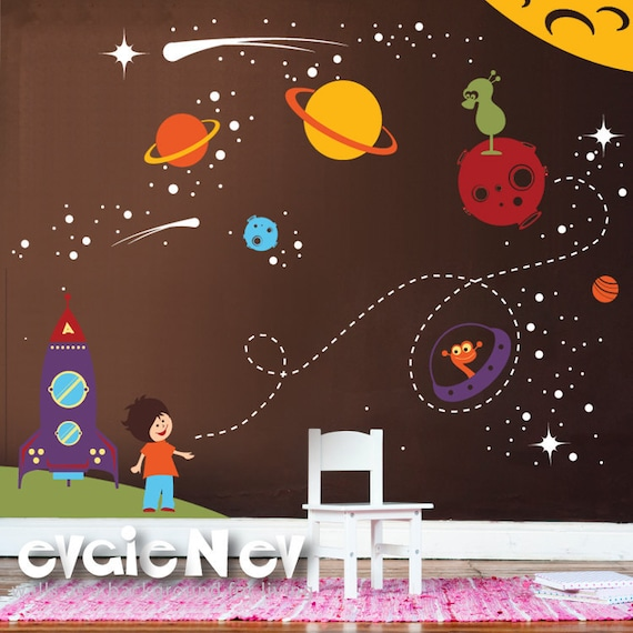 Children wall sticker decal vinyl outer space theme with for Outer space childrens decor