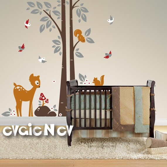 Baby Deer with Birds and Tree Wall Stickers - Children Wall Decal Wall Decals - PLWD010L