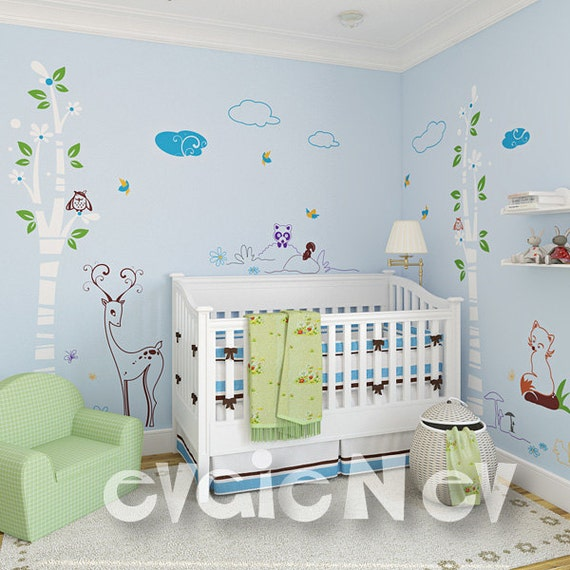Woodland Animals Wall Stickers with Fox and Deer DISCOUNTED price - Nursery Wall Decals - PLDW010R