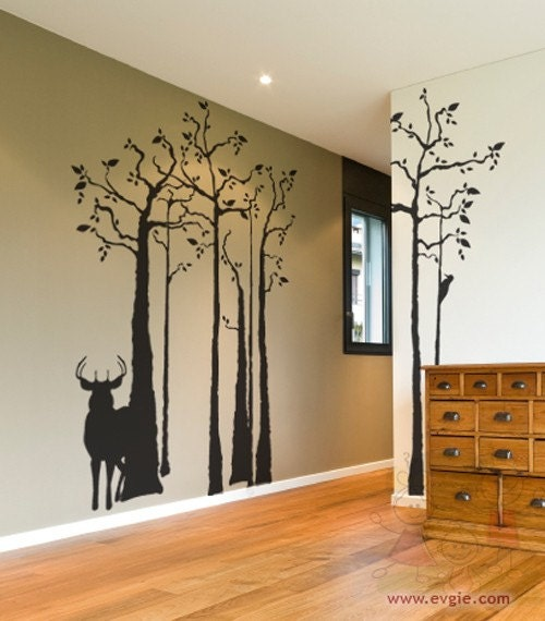 Deer silhouette wall mural in the forest wall decals with for Deer wall mural