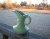 On Sale Vintage Small Green Pottery Pitcher