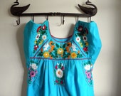 Vintage Aqua Native Embroidered Dress
