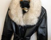 Vintage Black Leather Fox Fur Jacket