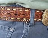 Vintage Hand Tooled, Buck Stitched Belt