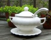 Vintage Cream California Pottery USA  4 Piece Soup Tureen Wedding Gift