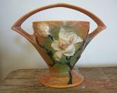 Vintage Roseville Pottery Magnolia Brown Vase