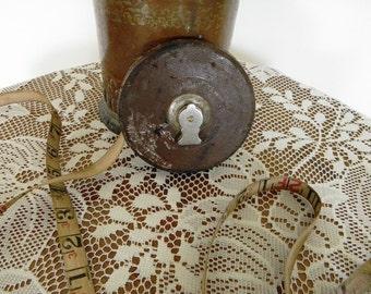 Vintage Leather Tape Measure 50 ft. Carpenter Tool Man Gift