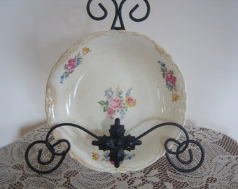 On Sale Vintage Pink Floral Bowl Use for Jewelry or Mosaics