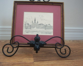 On Sale Vintage New Orleans Archie Boyd Pencil Sketch Signed New Orleans Souvenir Art Print Pencil Drawing