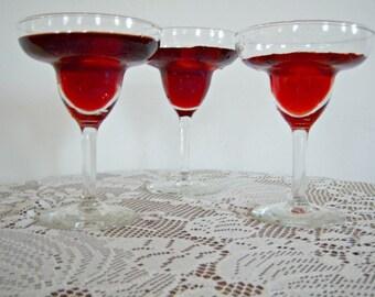 Vintage Margarita Set 4 Stem Tall Barware Beverage Glasses Party Holiday New Year Cosmopolitan 1 Extra Large
