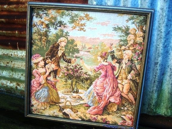 On Sale Vintage Green Pink Original Wine Cheese Tapestry Framed Handmade Square Happy Couple
